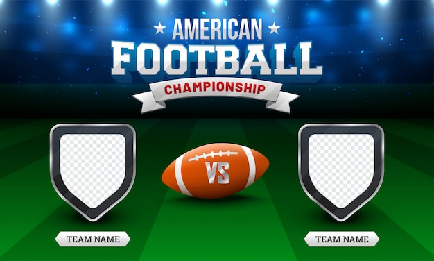American football championship concept with soccer ball, and blank shields for teams name.