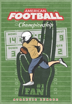American football championship poster with running player foam hand scoreboard on green worn field