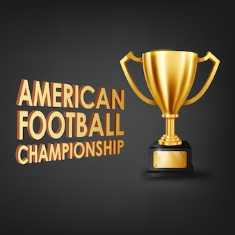 American football championship with gold trophy