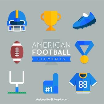 フラットデザインのアメリカンフットボールのコレクション