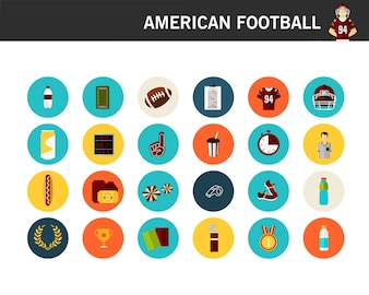 アメリカンフットボールのコンセプトフラットアイコン。