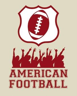 American football design over beige background