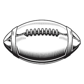 白い背景の上のアメリカンフットボールのデザイン。サッカーラインアートのロゴやアイコン。ベクトルイラスト。