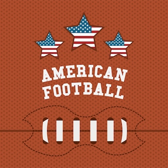 American football design over orange background