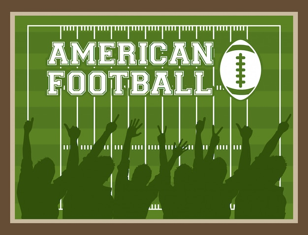 ピッチの背景の上のアメリカンフットボールのデザイン