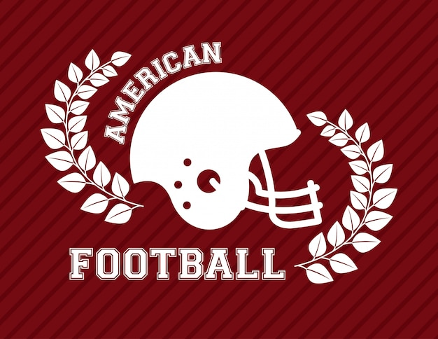American football design over red background