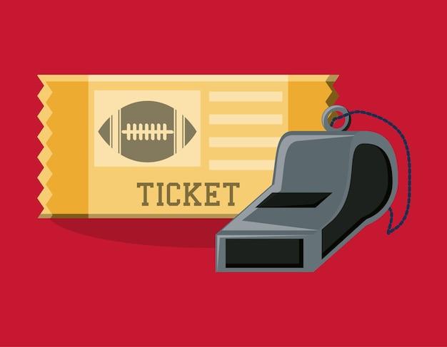アメリカンフットボールのチケットとホイッスルのデザイン