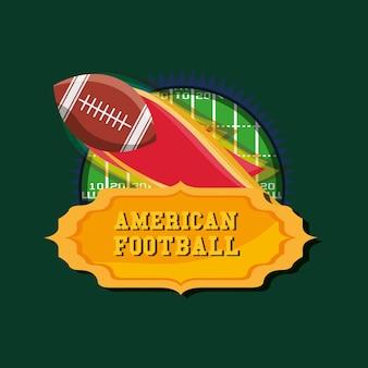 火のボールを持つアメリカンフットボールの紋章