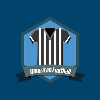 American football emblem with referee jersey