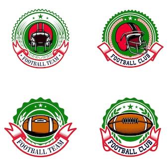 アメリカンフットボールのエンブレム。ロゴ、ラベル、記号の要素。画像