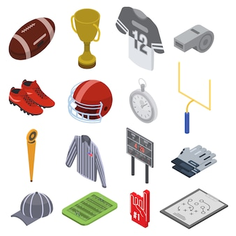 American football equipment icons set, isometric style