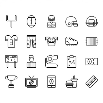 American football equipments and activities icon set