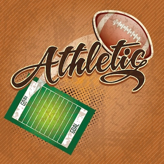 American  football field athletic team on retro background