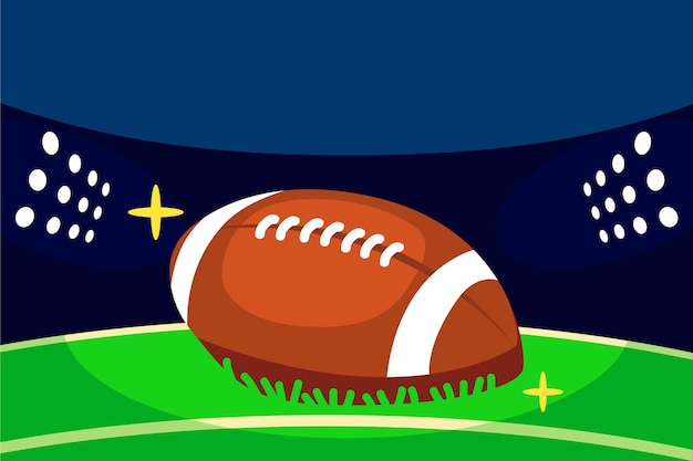American football field and ball illustrated
