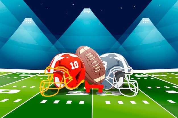 American football field and elements