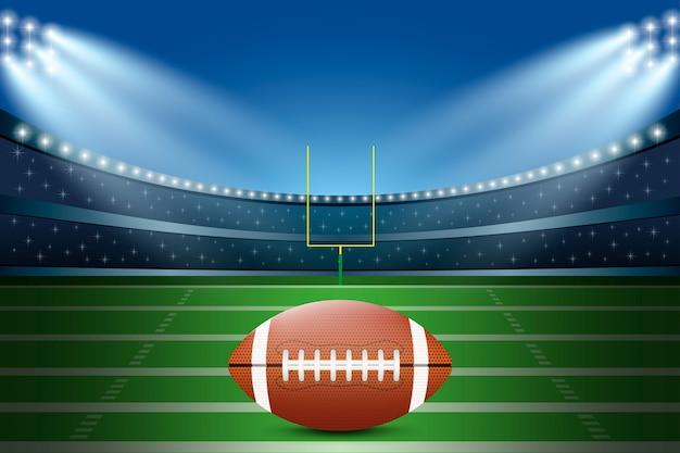 American football on field of stadium with spotlight.