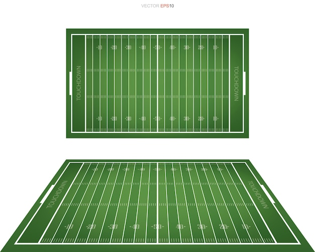 American football field with line pattern area for background. perspective views of football field. vector illustration.