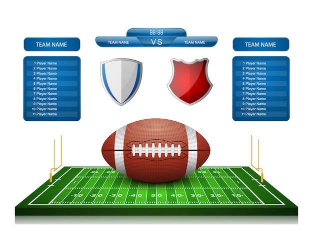 American football field with scoreboard,vector
