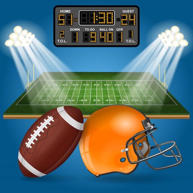 American football field with scoreboard