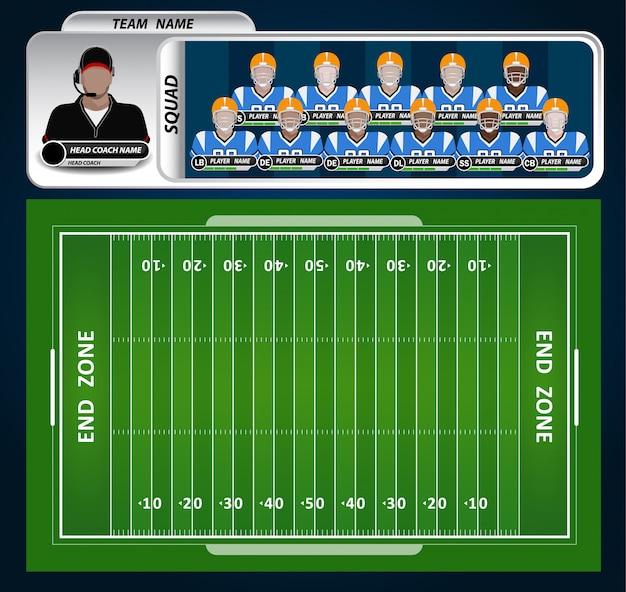 インフォグラフィック要素のセットを持つアメリカンフットボールフィールド