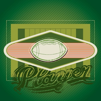 American football field with vintage insignia vector illistration