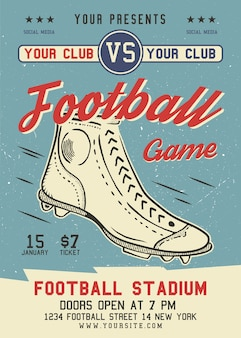 American football flyer a4 format. rugby game poster graphic design with retro boot and text.