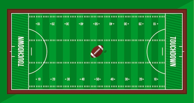 American football green field top view and ball