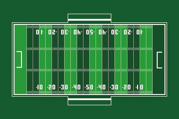 Vista dall'alto del campo verde di football americano