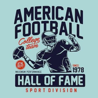 American football  hall of fame for graphic print