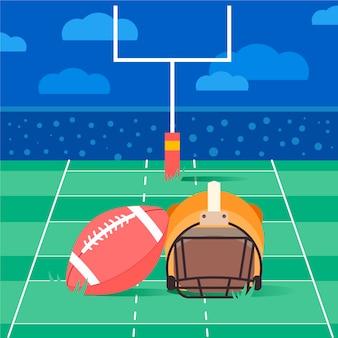 アメリカンフットボールのヘルメットとボール