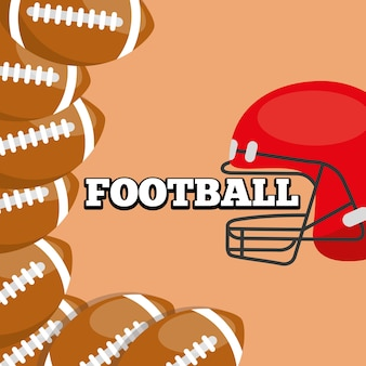 American football helmet and balls sport background design
