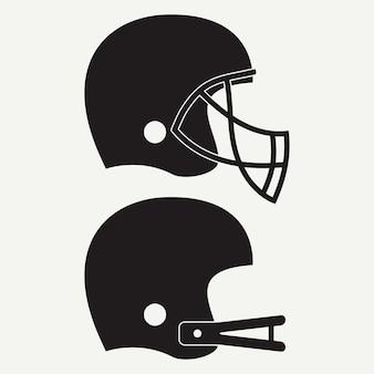 アメリカンフットボール用ヘルメット。スポーツアイコンのセットです。ベクトルイラスト。