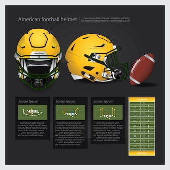American football helmet with team plan vector illustration