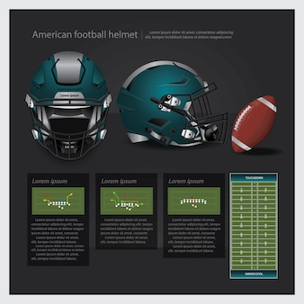 American football helmet with team plan vector illustration