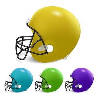 アメリカンフットボール用ヘルメットセット。白い背景で隔離。
