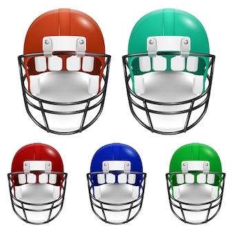 アメリカンフットボール用ヘルメットセット。