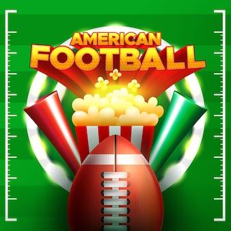 ポップコーンとボールとアメリカンフットボールのイラスト