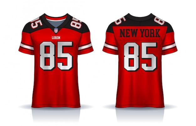アメリカンフットボールのジャージ、tシャツスポーツtemplate.uniform前面と背面ビュー。