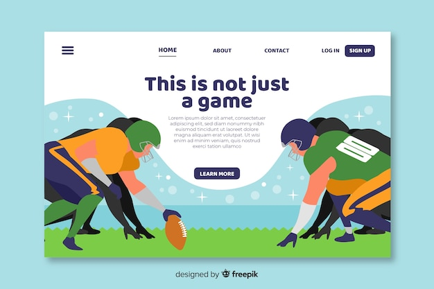 American football landing page template