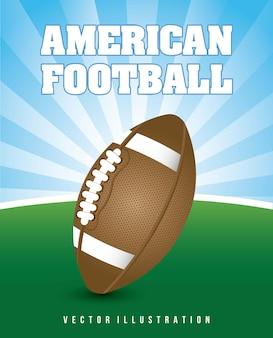 American football over landscape background vector illustration