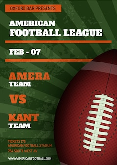 Modello del manifesto della lega di football americano
