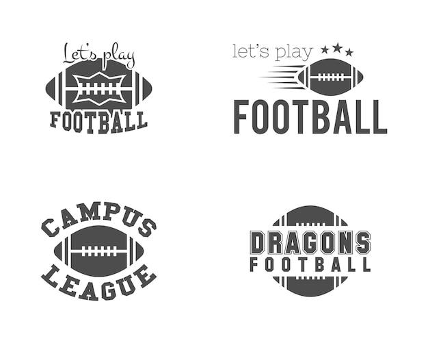 Набор логотипов американского футбола. фондовый вектор эмблемы