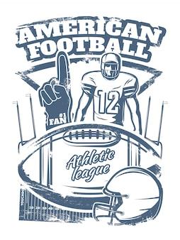 Монохромный принт американского футбола с ручным спортивным инвентарем