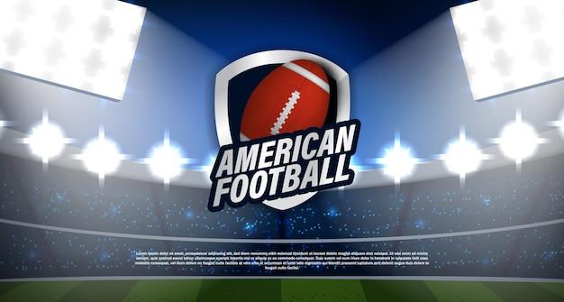 Турнир по американскому футболу или регби с мячом, эмблемой, логотипом чемпионата со стадионом и реалистичным вектором света. для лиги, чемпионата, победителя спортивного суперкубка