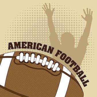 ビンテージ背景のアメリカのフットボールのベクトル図