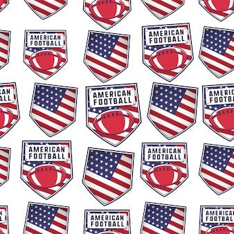 アメリカの国旗、ボール、タイポグラフィの要素を持つアメリカンフットボールパッチパターンデザイン。ラグビーのシームレスな背景。珍しいスポーツの壁紙。