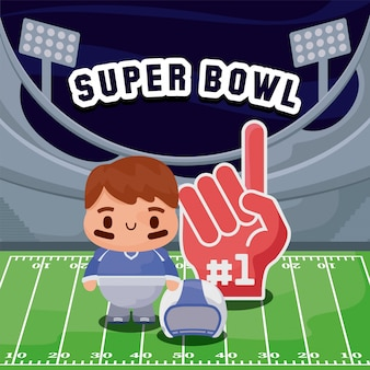 American football player cartoon and glove over field
