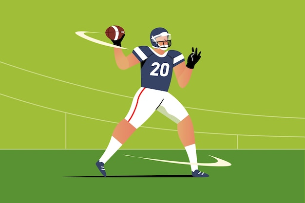 Illustrazione di design piatto del giocatore di football americano