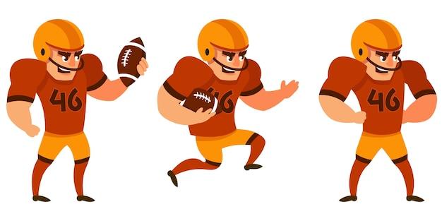 さまざまなポーズのアメリカンフットボール選手。漫画のスタイルの男性キャラクター。
