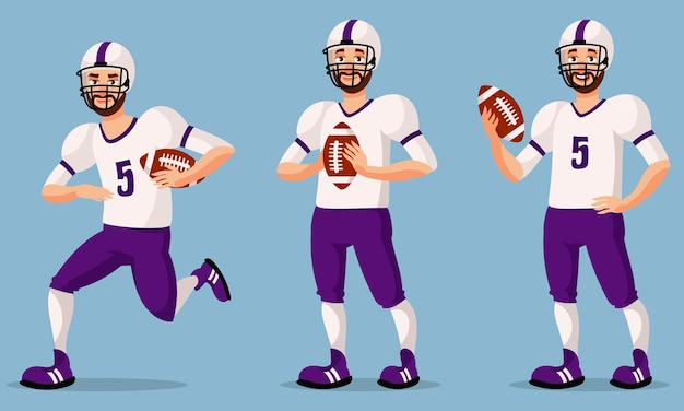 다른 포즈에서 미식 축구 선수입니다. 만화 스타일 일러스트에서 남성 사람